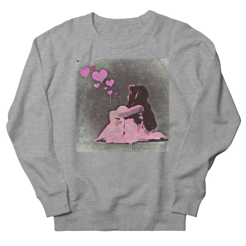 Lonely Heart (Pink) Women's French Terry Sweatshirt by Divinitium's Clothing and Apparel