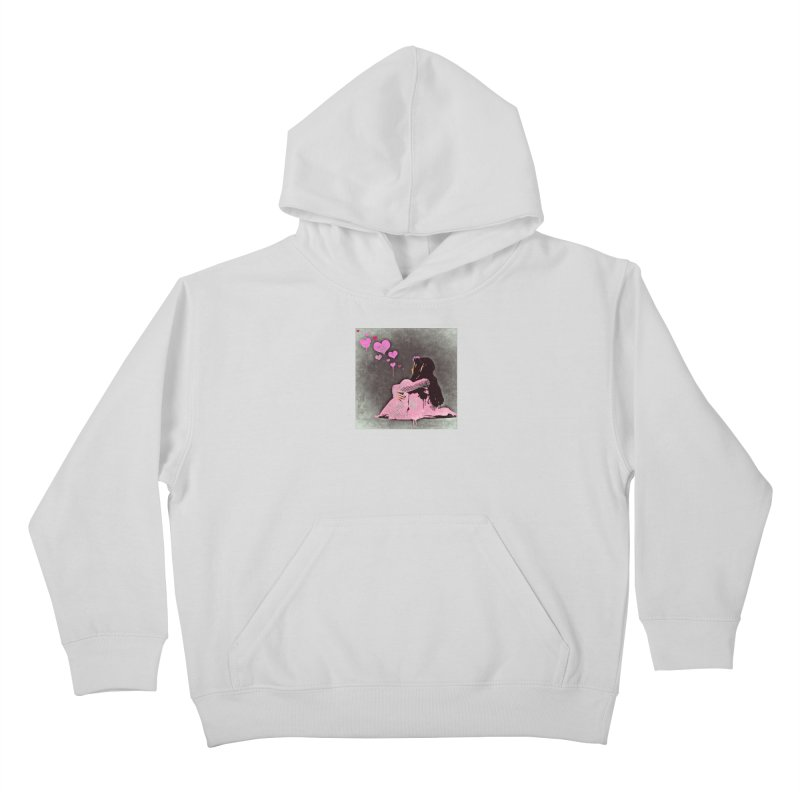 Lonely Heart (Pink) Kids Pullover Hoody by Divinitium's Clothing and Apparel