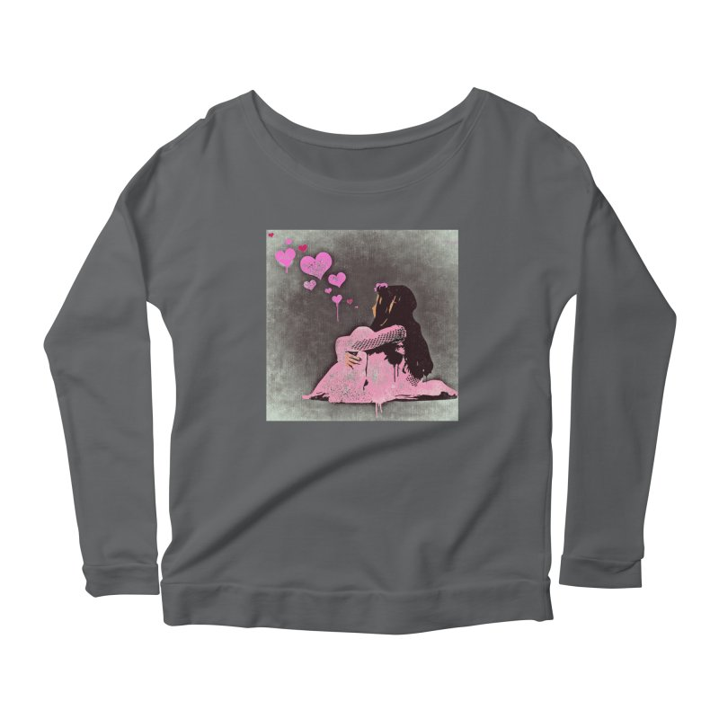 Lonely Heart (Pink) Women's Scoop Neck Longsleeve T-Shirt by Divinitium's Clothing and Apparel