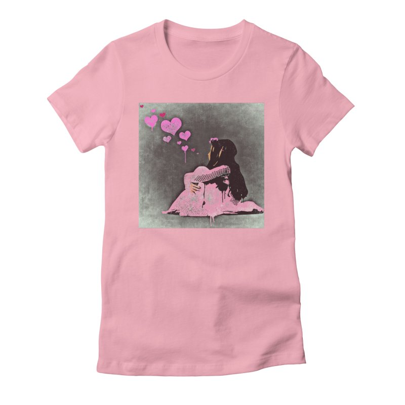 Lonely Heart (Pink) Women's Fitted T-Shirt by Divinitium's Clothing and Apparel