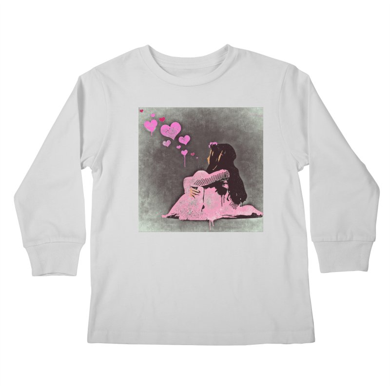Lonely Heart (Pink) Kids Longsleeve T-Shirt by Divinitium's Clothing and Apparel