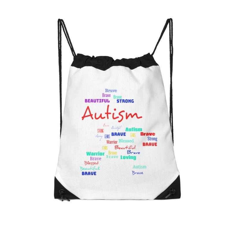 Beautiful Strong Autism Accessories Drawstring Bag Bag by Divinitium's Clothing and Apparel