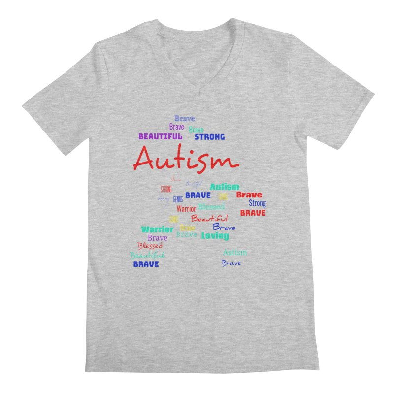 Beautiful Strong Autism Men's Regular V-Neck by Divinitium's Clothing and Apparel