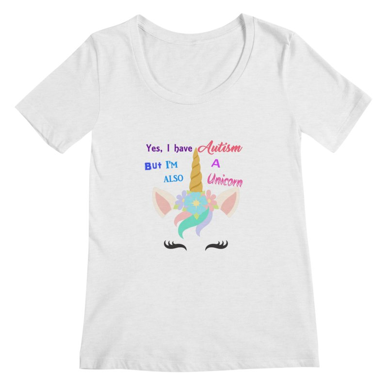 Autism Unicorn Women's Regular Scoop Neck by Divinitium's Clothing and Apparel