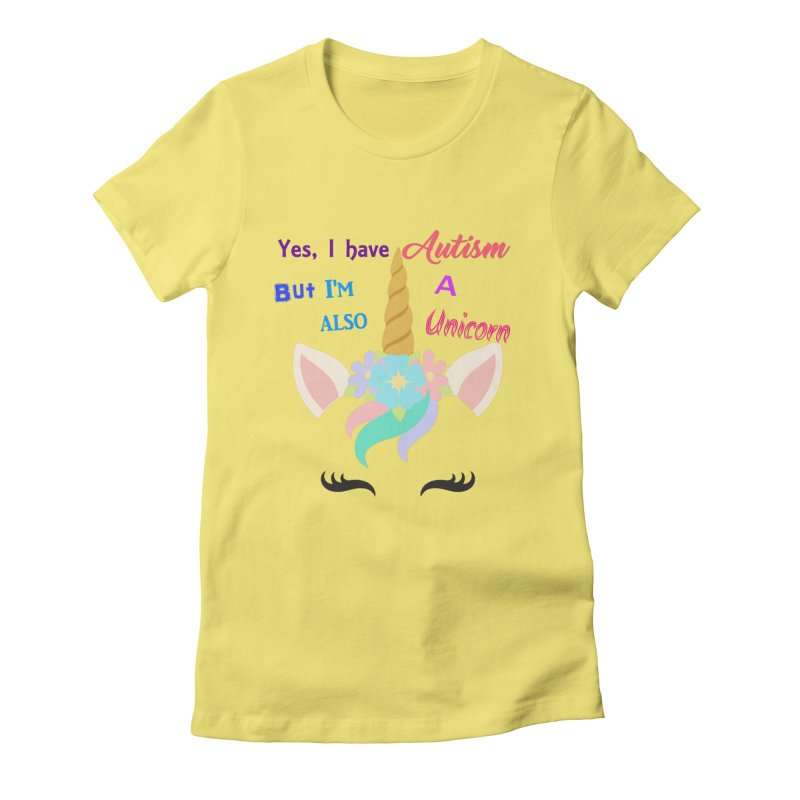 Autism Unicorn Women's Fitted T-Shirt by Divinitium's Clothing and Apparel