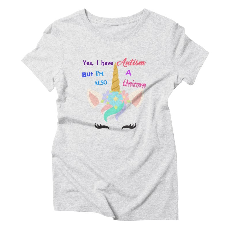 Autism Unicorn Women's Triblend T-Shirt by Divinitium's Clothing and Apparel