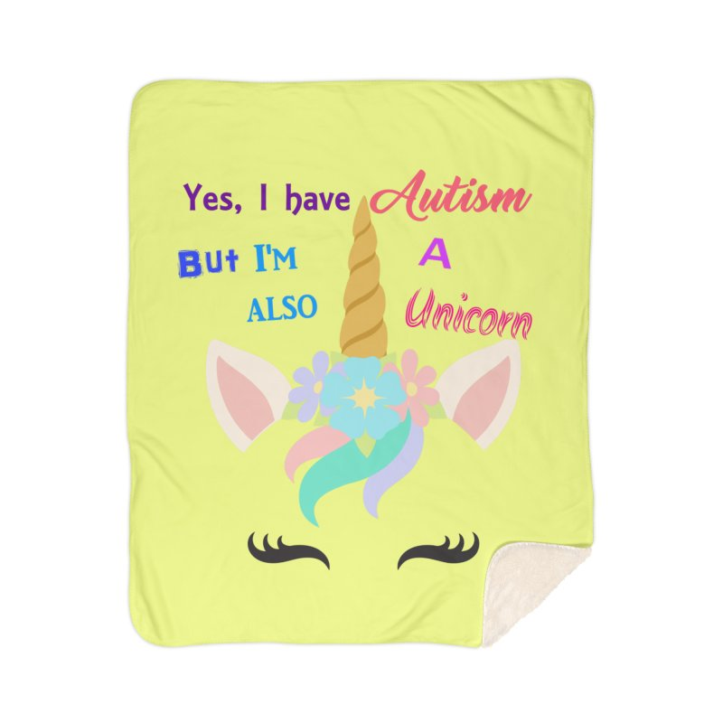 Autism Unicorn Home Sherpa Blanket Blanket by Divinitium's Clothing and Apparel