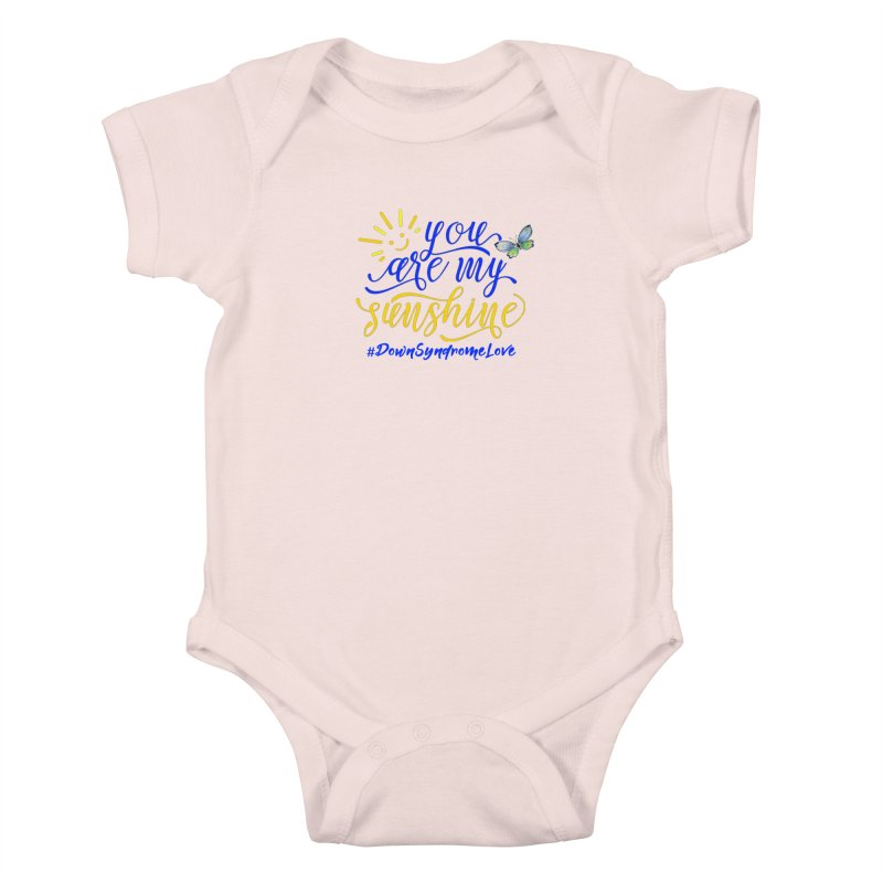 You Are My Sunshine, Down Syndrome Love (With Butterfly) Kids Baby Bodysuit by Divinitium's Clothing and Apparel