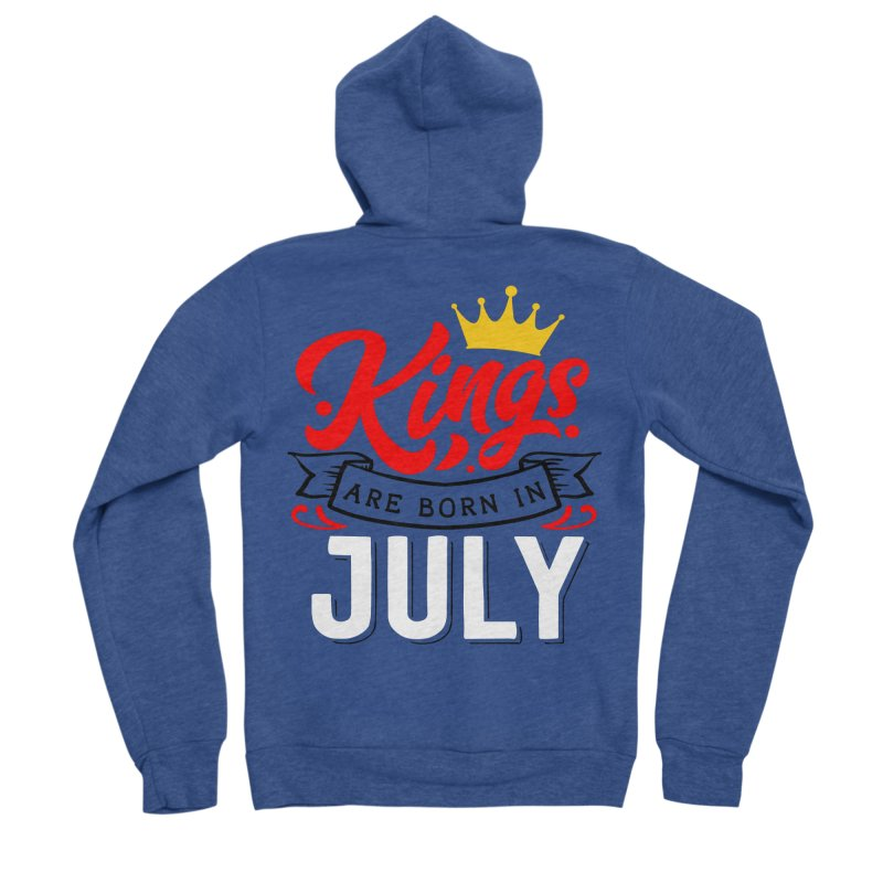 Kings Are born In July Men's Sponge Fleece Zip-Up Hoody by Divinitium's Clothing and Apparel