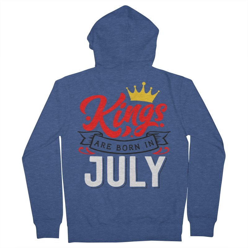 Kings Are born In July Men's French Terry Zip-Up Hoody by Divinitium's Clothing and Apparel