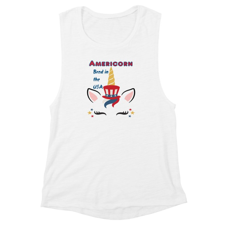 Americorn Women's Muscle Tank by Divinitium's Clothing and Apparel