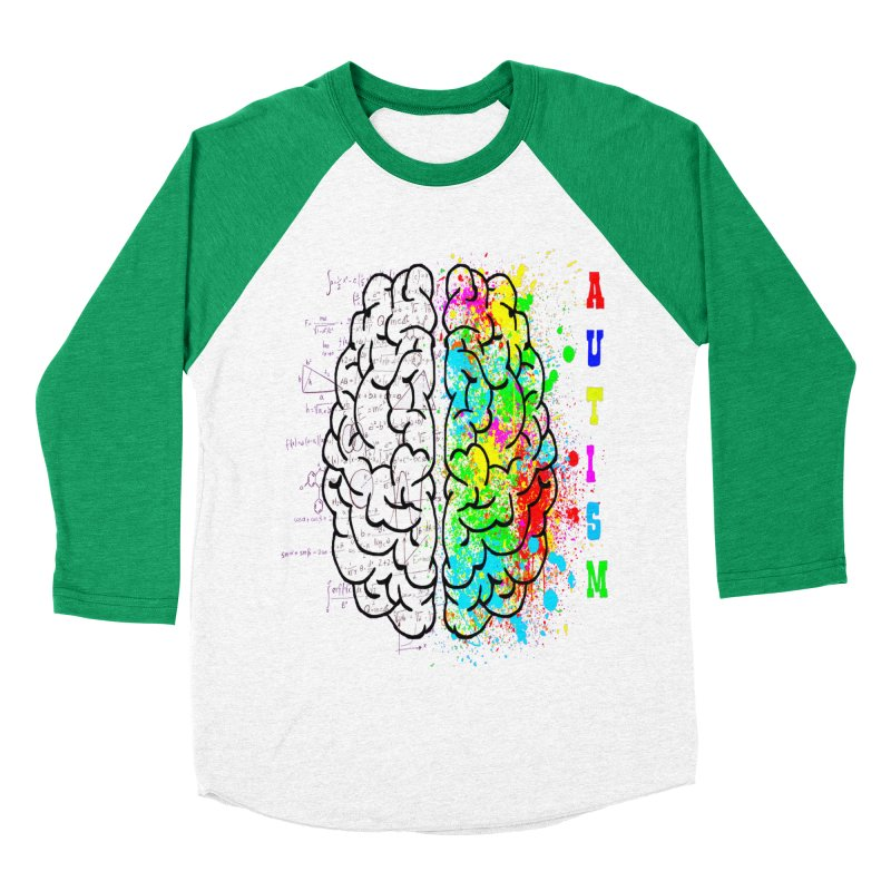 Autism Brain Women's Baseball Triblend Longsleeve T-Shirt by Divinitium's Clothing and Apparel