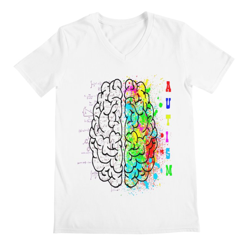 Autism Brain Men's Regular V-Neck by Divinitium's Clothing and Apparel