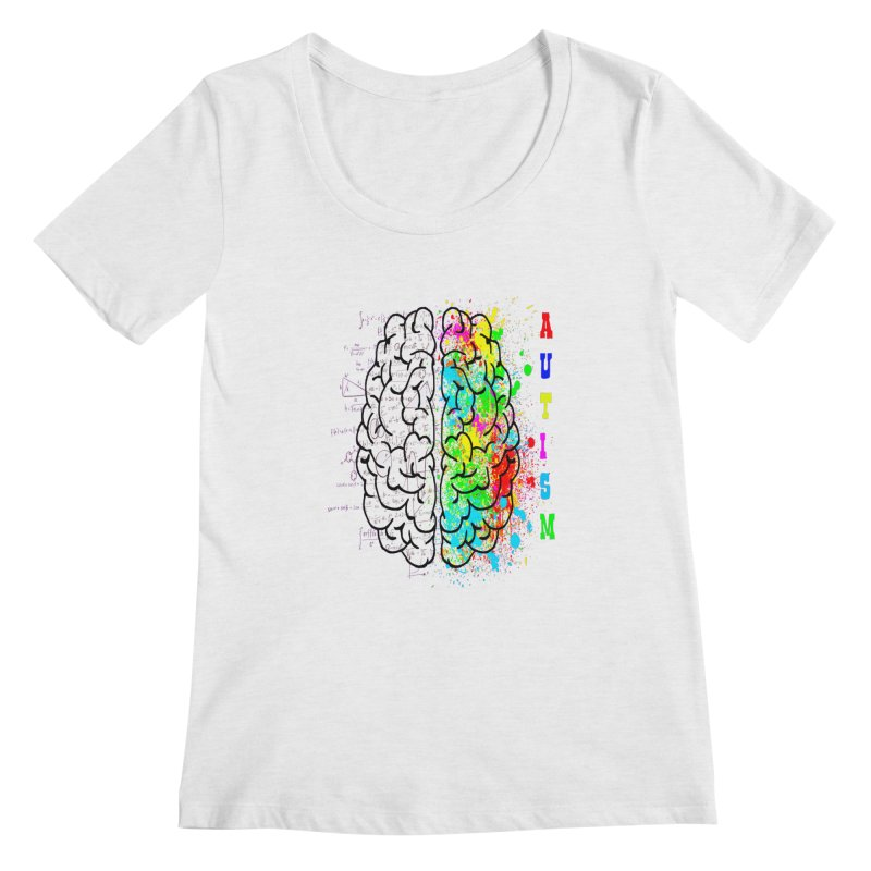 Autism Brain Women's Regular Scoop Neck by Divinitium's Clothing and Apparel