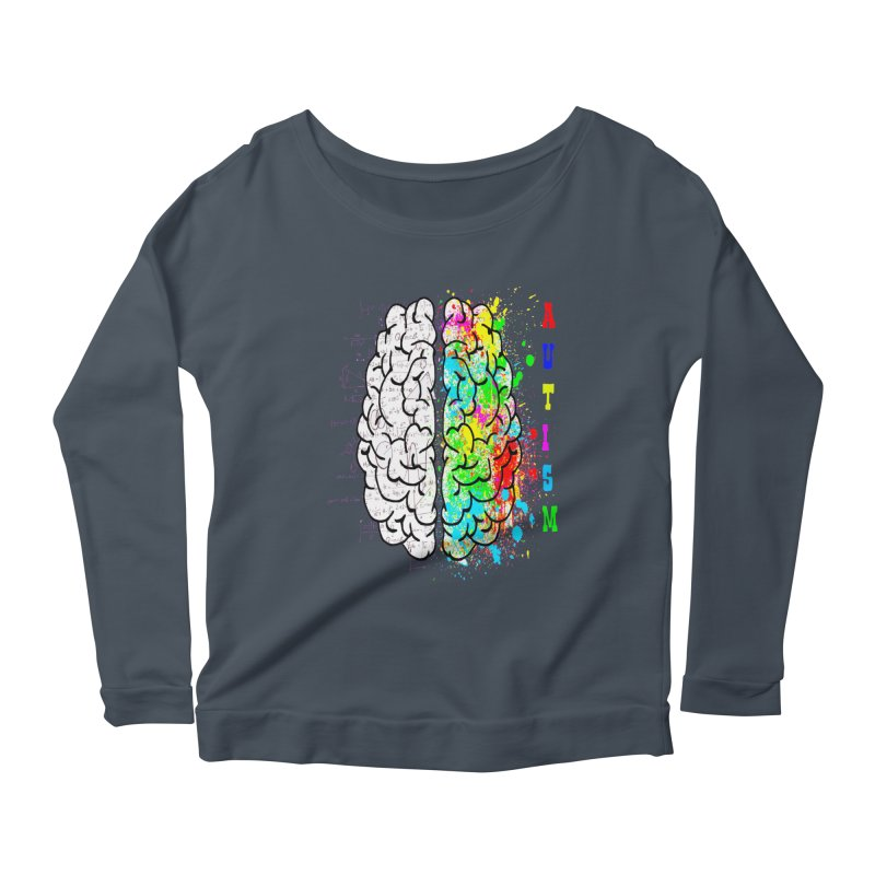 Autism Brain Women's Scoop Neck Longsleeve T-Shirt by Divinitium's Clothing and Apparel