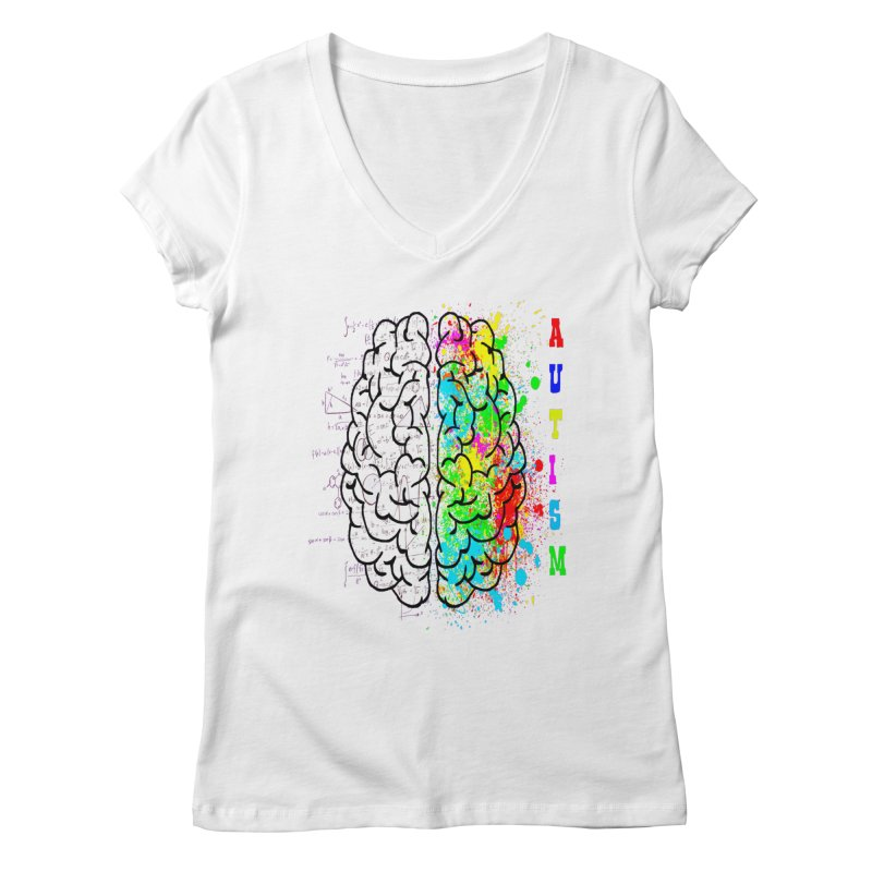Autism Brain Women's Regular V-Neck by Divinitium's Clothing and Apparel