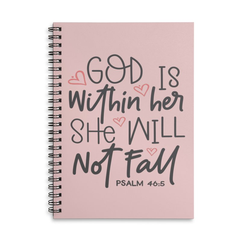 Psalm 46:5 Accessories Lined Spiral Notebook by Divinitium's Clothing and Apparel