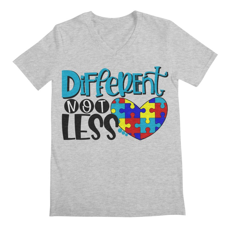 Different Not Less Men's Regular V-Neck by Divinitium's Clothing and Apparel