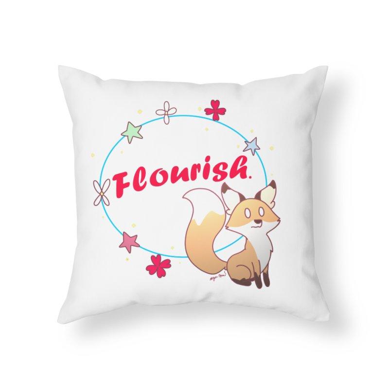 Flourish Fox Home Throw Pillow by Dove's Flight