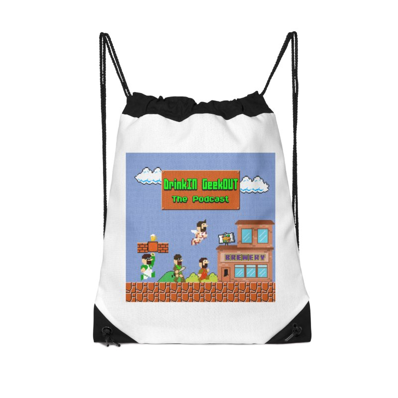 Super DiGo Bros. Accessories Drawstring Bag Bag by DrinkIN GeekOUT's Artist Shop