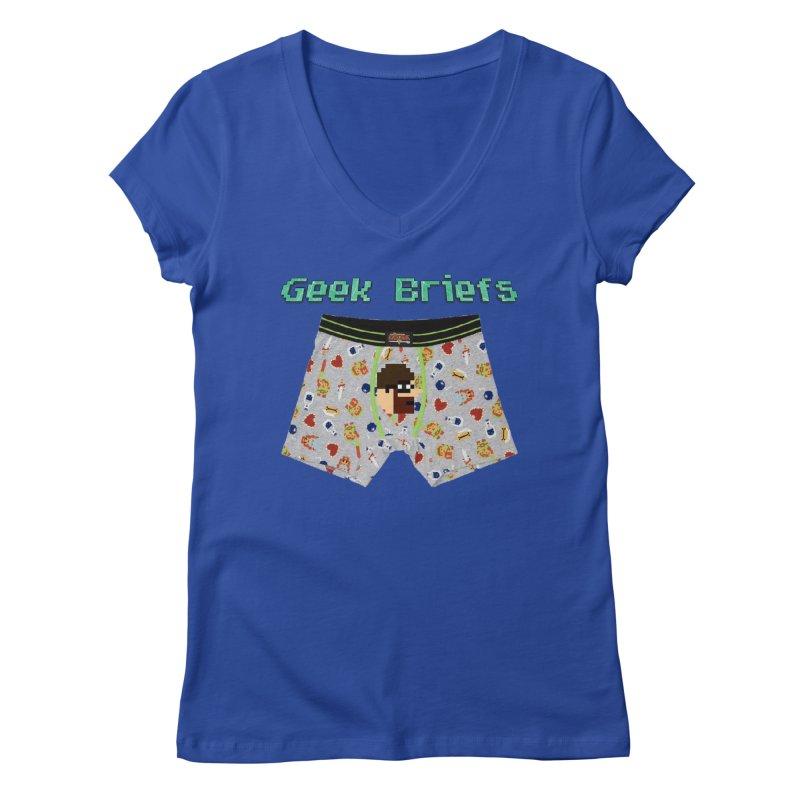 Geek Briefs Women's Regular V-Neck by DrinkIN GeekOUT's Artist Shop