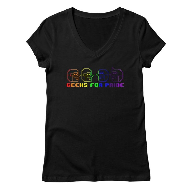 Geeks For Pride 2019 Women's Regular V-Neck by DrinkIN GeekOUT's Artist Shop