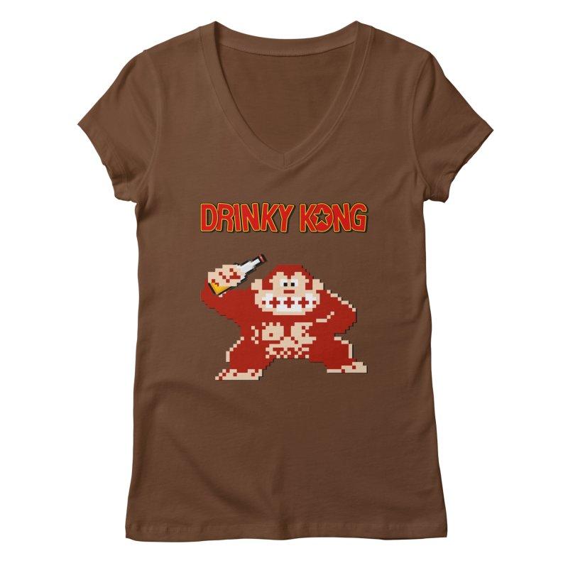 Drinky Kong Women's Regular V-Neck by DrinkIN GeekOUT's Artist Shop