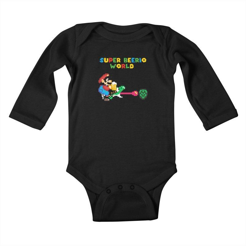 Super Beerio World Kids Baby Longsleeve Bodysuit by DrinkIN GeekOUT's Artist Shop