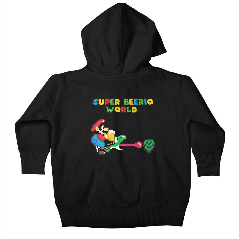 Super Beerio World Kids Baby Zip-Up Hoody by DrinkIN GeekOUT's Artist Shop