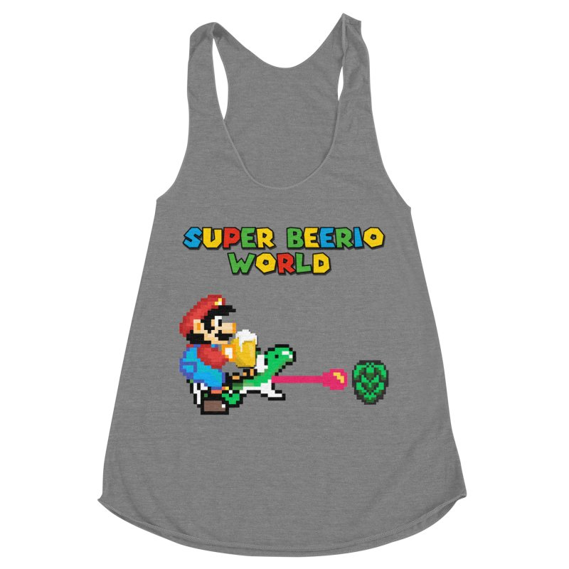 Super Beerio World Women's Racerback Triblend Tank by DrinkIN GeekOUT's Artist Shop
