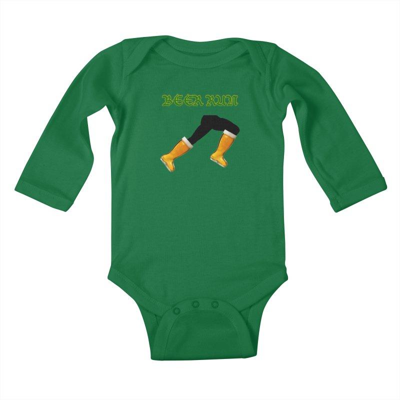 Beer Run Kids Baby Longsleeve Bodysuit by DrinkIN GeekOUT's Artist Shop