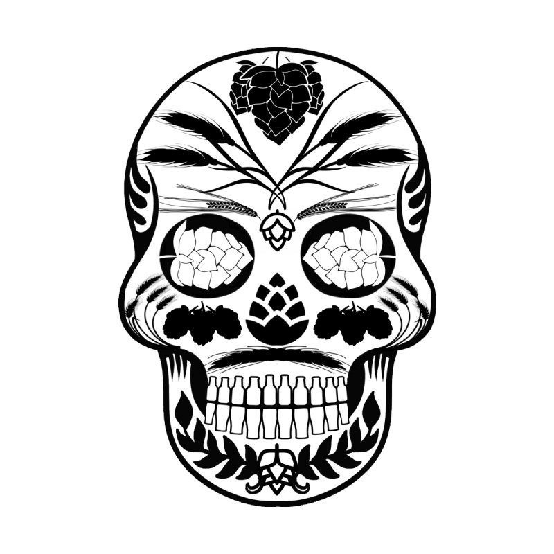 Hoppy Sugar Skull B&W Men's T-Shirt by DrinkIN GeekOUT's Artist Shop