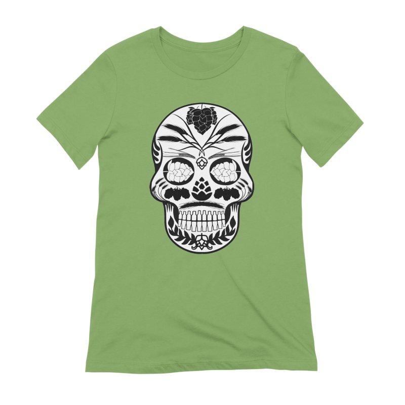 Hoppy Sugar Skull B&W Women's Extra Soft T-Shirt by DrinkIN GeekOUT's Artist Shop