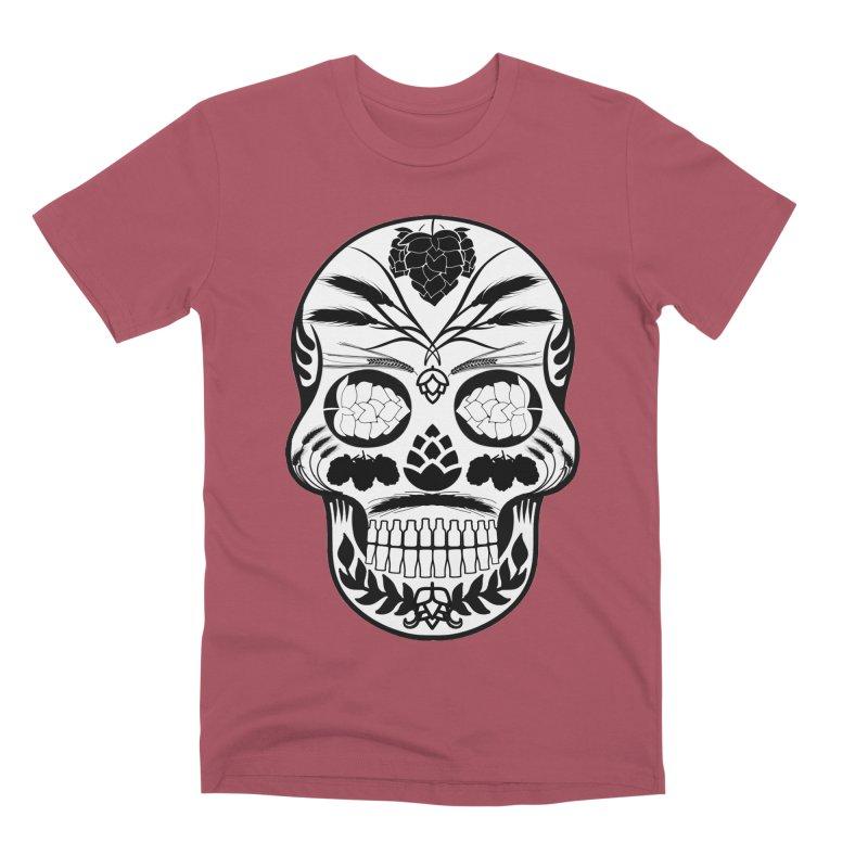Hoppy Sugar Skull B&W Men's Premium T-Shirt by DrinkIN GeekOUT's Artist Shop