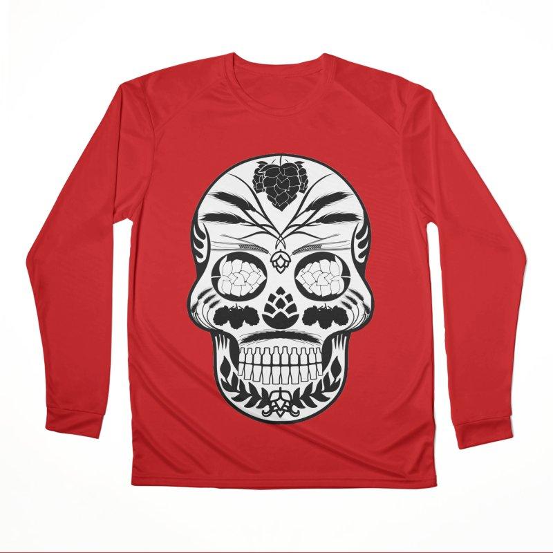 Hoppy Sugar Skull B&W Women's Performance Unisex Longsleeve T-Shirt by DrinkIN GeekOUT's Artist Shop