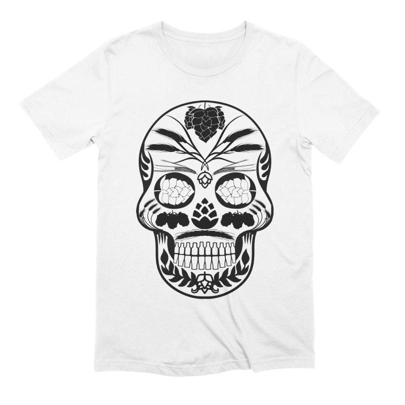 Hoppy Sugar Skull B&W Men's Extra Soft T-Shirt by DrinkIN GeekOUT's Artist Shop
