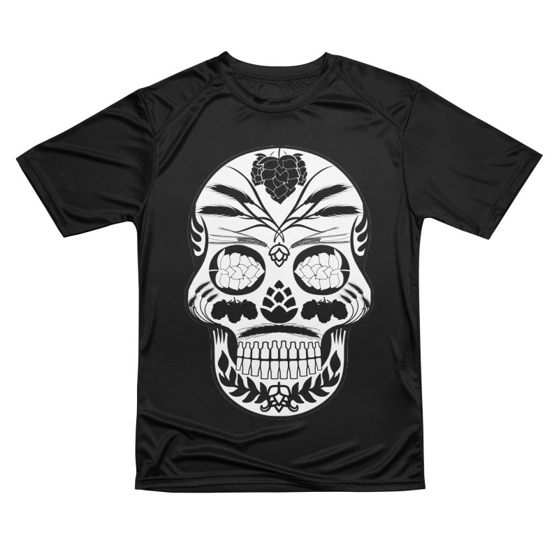 Hoppy Sugar Skull B&W Women's Performance Unisex T-Shirt by DrinkIN GeekOUT's Artist Shop