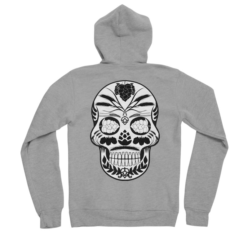 Hoppy Sugar Skull B&W Women's Sponge Fleece Zip-Up Hoody by DrinkIN GeekOUT's Artist Shop