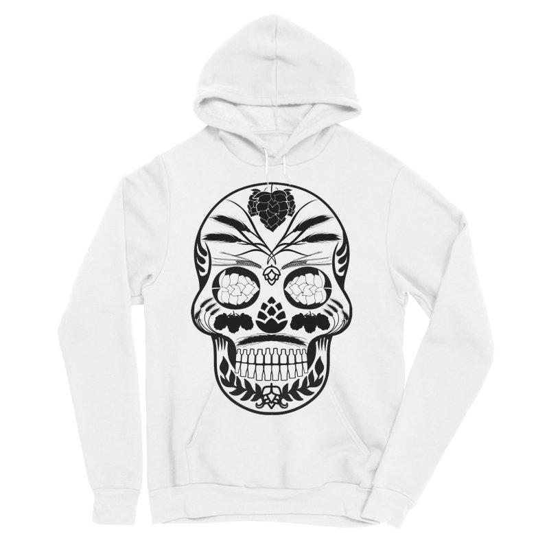 Hoppy Sugar Skull B&W Men's Sponge Fleece Pullover Hoody by DrinkIN GeekOUT's Artist Shop