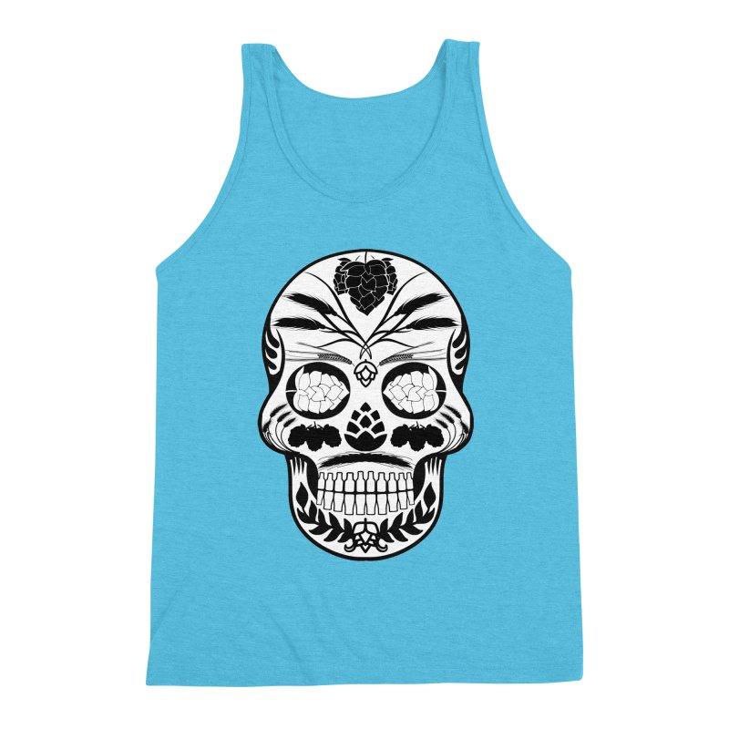 Hoppy Sugar Skull B&W Men's Triblend Tank by DrinkIN GeekOUT's Artist Shop