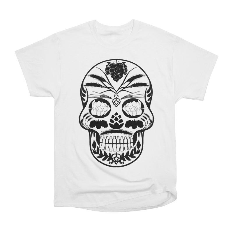 Hoppy Sugar Skull B&W Women's Heavyweight Unisex T-Shirt by DrinkIN GeekOUT's Artist Shop
