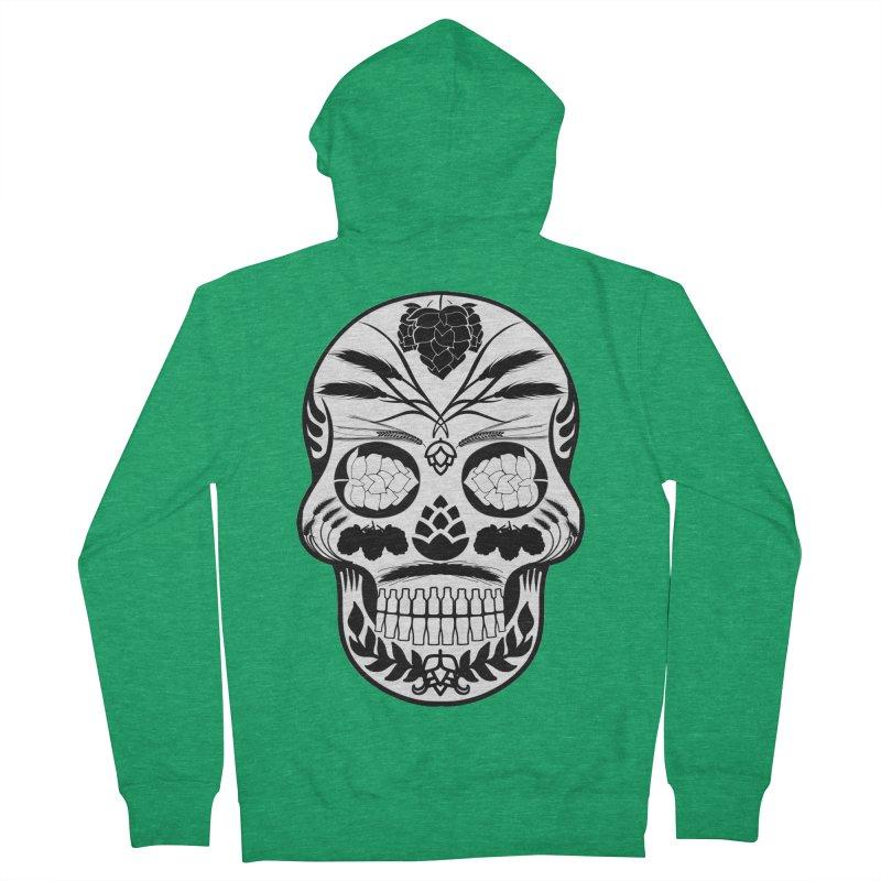 Hoppy Sugar Skull B&W Women's French Terry Zip-Up Hoody by DrinkIN GeekOUT's Artist Shop