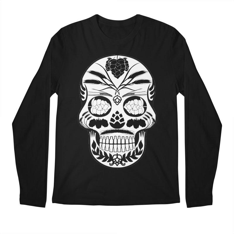 Hoppy Sugar Skull B&W Men's Regular Longsleeve T-Shirt by DrinkIN GeekOUT's Artist Shop