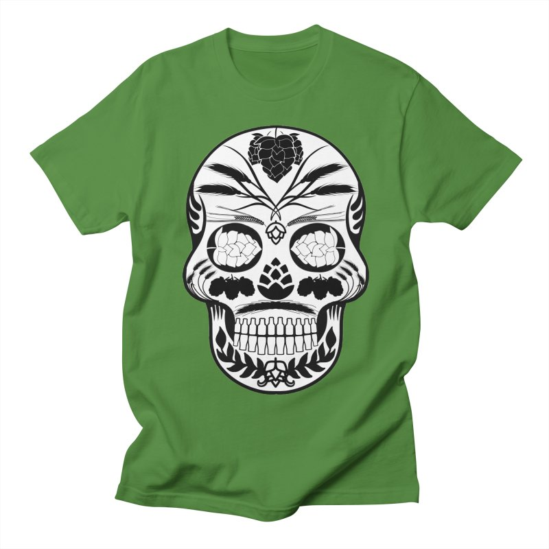 Hoppy Sugar Skull B&W Men's Regular T-Shirt by DrinkIN GeekOUT's Artist Shop