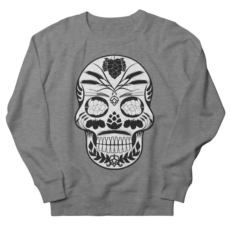 Hoppy Sugar Skull B&W Men's French Terry Sweatshirt by DrinkIN GeekOUT's Artist Shop
