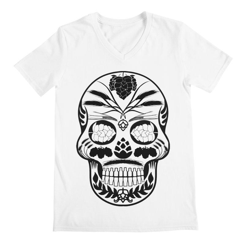 Hoppy Sugar Skull B&W Men's Regular V-Neck by DrinkIN GeekOUT's Artist Shop
