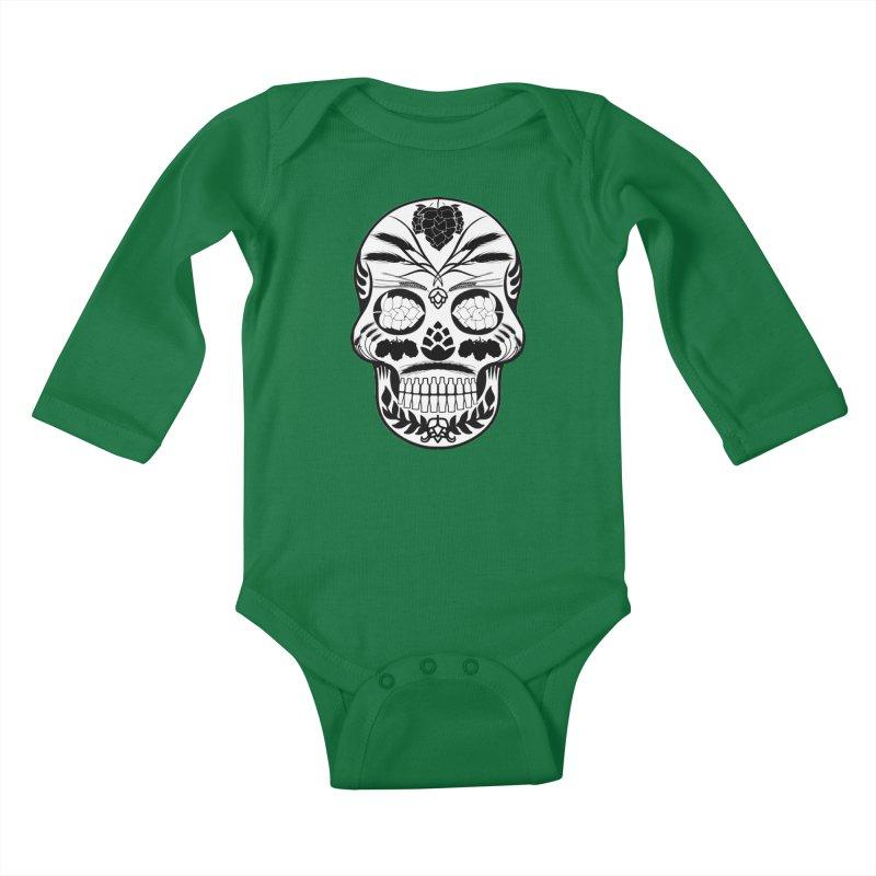 Hoppy Sugar Skull B&W Kids Baby Longsleeve Bodysuit by DrinkIN GeekOUT's Artist Shop