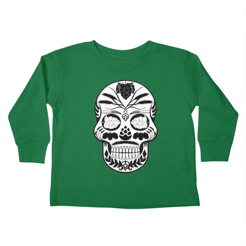 Hoppy Sugar Skull B&W Kids Toddler Longsleeve T-Shirt by DrinkIN GeekOUT's Artist Shop