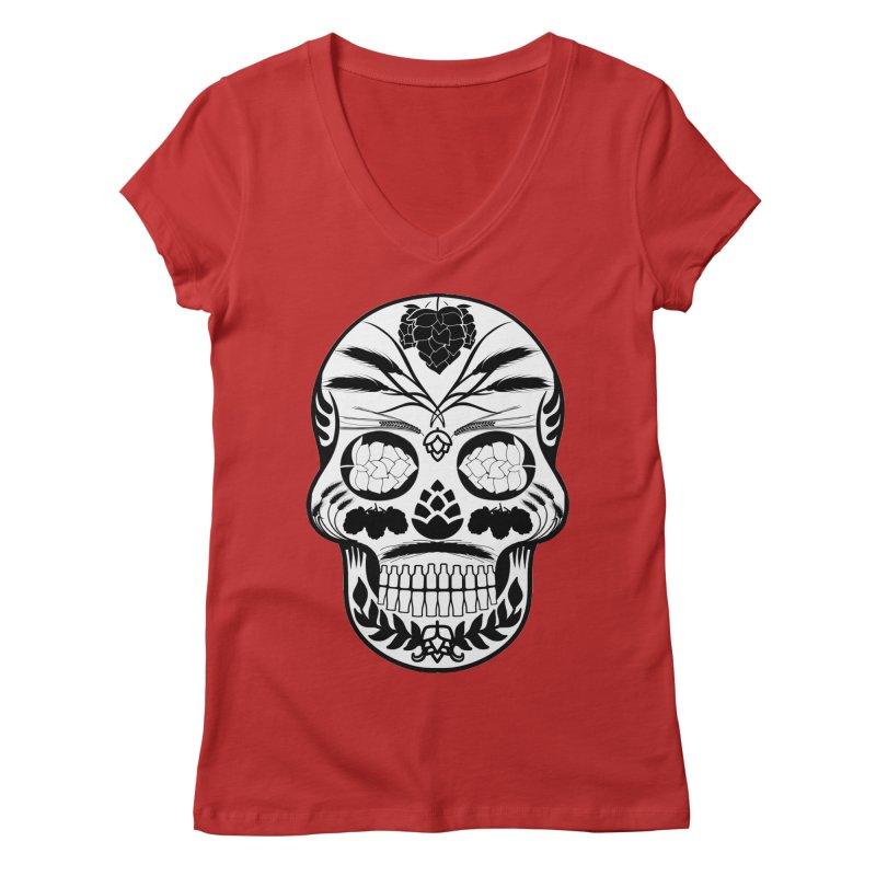 Hoppy Sugar Skull B&W Women's Regular V-Neck by DrinkIN GeekOUT's Artist Shop