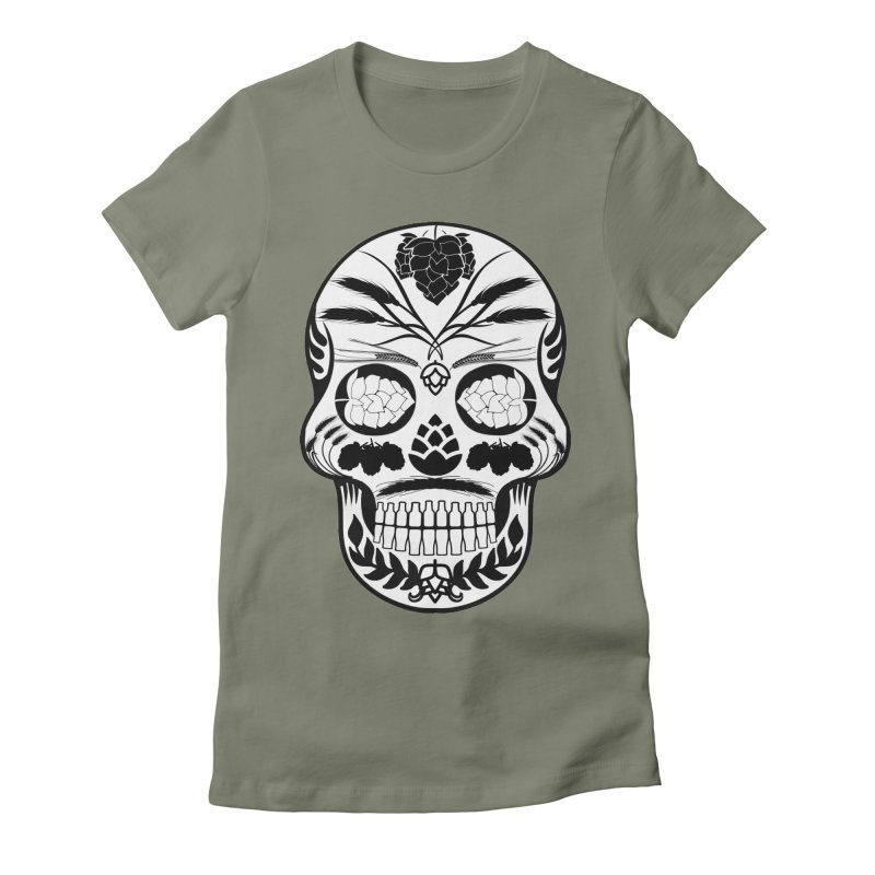 Hoppy Sugar Skull B&W Women's Fitted T-Shirt by DrinkIN GeekOUT's Artist Shop